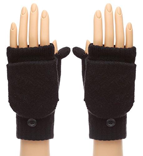 MIRMARU Women's Winter Knitted Fingerless Mitten Gloves with