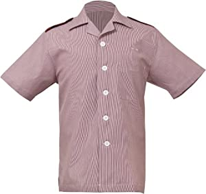 Uniform Works HKSM-TER-M  Junior Cord Men's Housekeeping Shirt, Terracotta, Medium