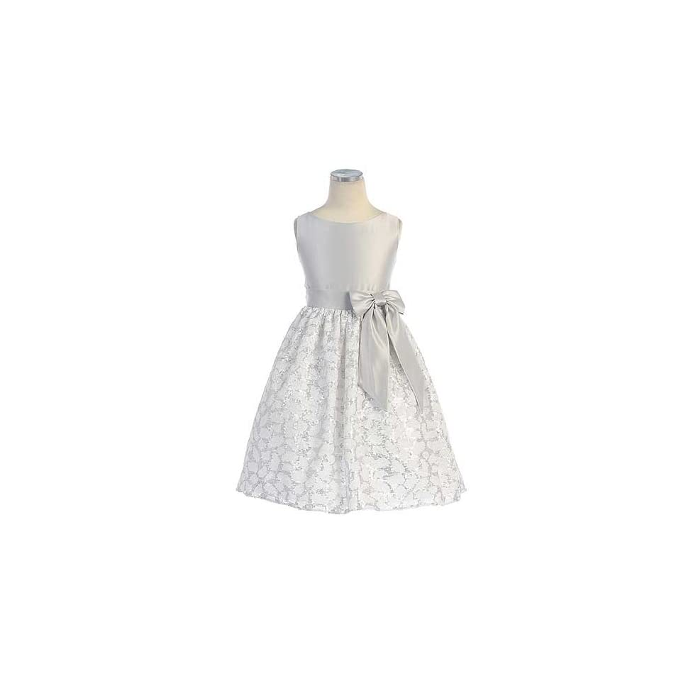 Sweet Kids Silver Satin Easter Flower Dress Toddler Little Girl 2T 12 Special Occasion Dresses Clothing
