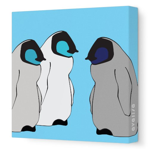"Avalisa Stretched Canvas Nursery Wall Art, Baby Penguin, Blue Hue, 18"" x 18"""