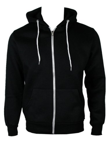 The Home of Fashion Mens Fleece Lined Hooded Jumper-XS -Black