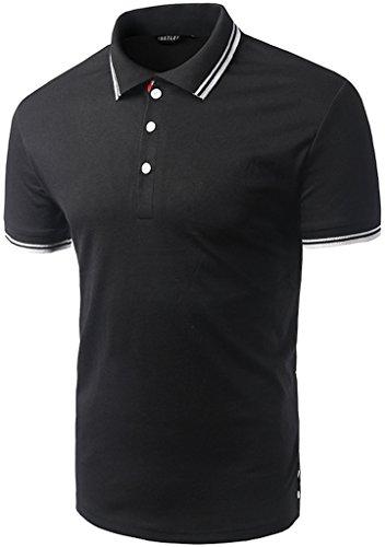 What Lees Mens Urban Casual Basic Short Sleeve Golf Polo Shirts B073-Black-M (Caps Louis Vuitton compare prices)