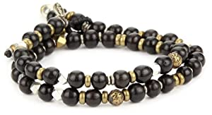 M.Cohen Handmade Designs Double Wrap Onyx Bead with Sterling Silver Accent Bracelet