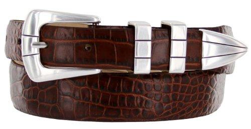 Vince Italian Calfskin Leather Designer Golf Dress Belt for Men (38, Alligator Brown)