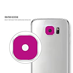Rear Camera Lens Metal Protective Ring Guard Cover Protector for Samsung Galaxy S6 - S6 Edge Lens Protector (Pink)