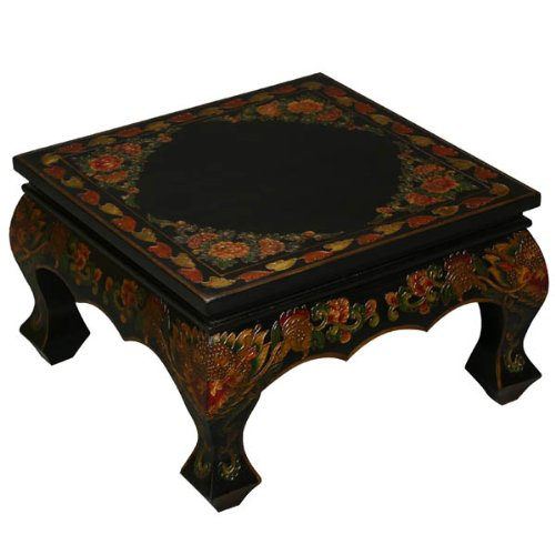 Buy Low Price Exp Furniture Handmade Black Tibetan Accent Coffee Table With Painted Dragons And