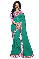Reveka Green Georgette Saree With Bhagalpuri Silk Blouse
