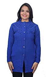 Romano Blue Winter Wool Sweater Cardigan for Women