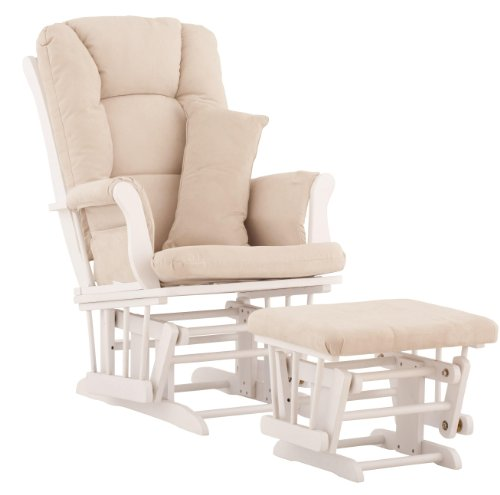 Best Review Of Stork Craft Custom Tuscany White Finish Glider and Ottoman with Free lower lumbar pil...