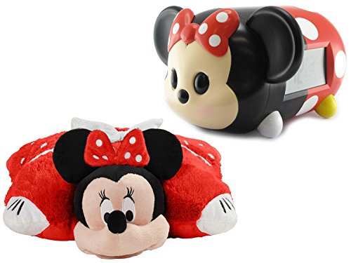 NEW! Disney Minnie Mouse Alarm Clock with Matching Minnie Mouse Folding Pillow Pet (Boom Box Pinata compare prices)