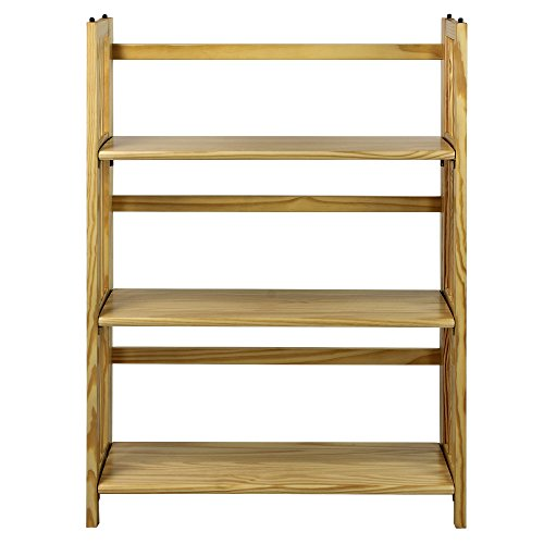 Casual Home  3 Shelf Folding Stackable Bookcase, Natural New 3 Shelf Bookcase