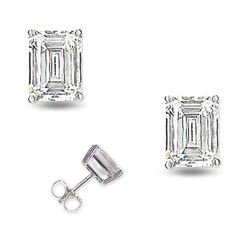 Thera's 925 Sterling Silver Bridal Earrings 6.0CT Bezel Set Emerald Cut Cubic Zirconia - Incl. ClassicDiamondHouse Free Gift Box & Cleaning Cloth