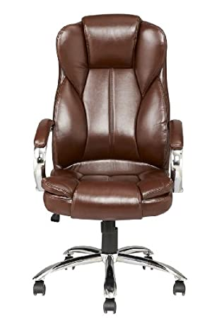 Brown Modern High Back Leather Executive Office Desk Task Computer Chair