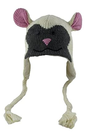 DeLux Lamb Face White Wool Pilot Animal Cap/Hat with Ear Flaps and Poms