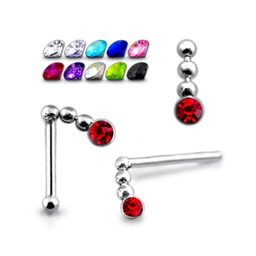 20 Pieces Mix All Color Pack in Mini box 925 Silver Jeweled Chain Dangling 20G-6MM Ball End Nose stud Piercing Jewellery