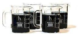 Premium Hand Crafted Beaker Mugs, Laboratory Quality Borosilicate Glass, 8.4oz (250mL) Capacity - Pack of 4 Mugs