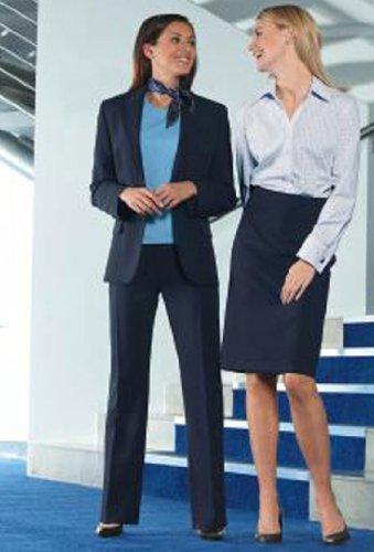 Simon Jersey Ladies Navy Kick Flare Trousers