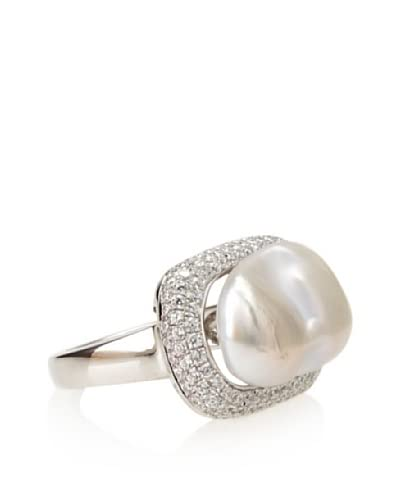 Radiance Pearl White Freshwater Cultured Pearl & Crystal Ring As You See