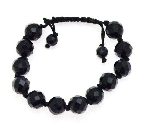 12mm Faceted Black Agate Bangle Type Adjustable Bracelet