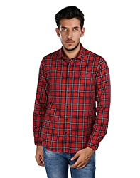 Oxemberg Men's Checkered100% Cotton Red Shirt