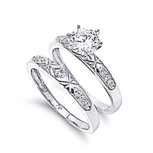 Little Treasures Rhodium Plated Sterling Silver Wedding & Engagement Ring Clear CZ Solitaire Wedding Ring set