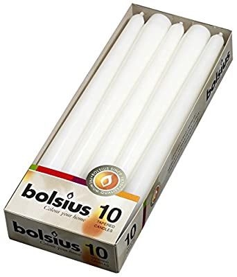 Bolsius White taper candles 10 inch