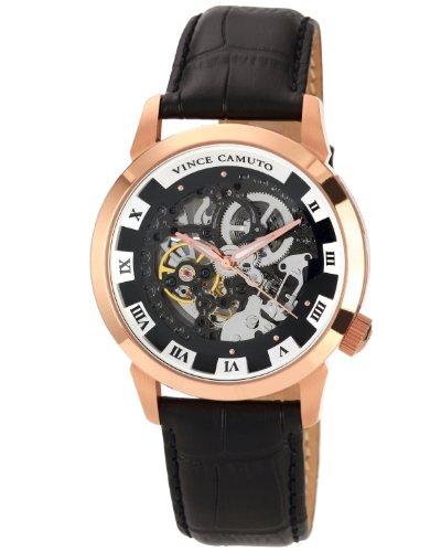 Vince Camuto  VC/1007BKRG - Reloj de automático para hombre, con correa de cuero, color negro