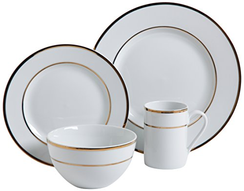 David Tutera 98981.12RM 12 Piece Bainbridge Banded Porcelain Dinnerware Set, Gold/White (Porcelain Service For 12 compare prices)