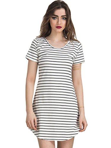 Persun Women Monochrome Stripe Short Sleeve Shift Dress White Small, White, Small