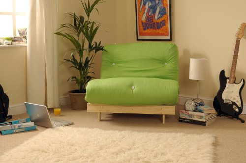 3ft (90cm) Single Wooden Futon with LIME Mattress