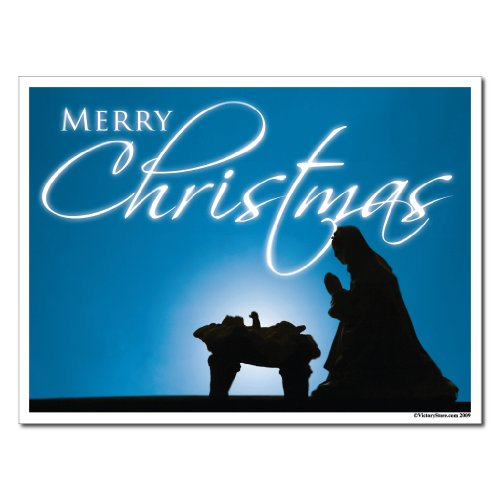 Merry Christmas Blue Manger Scene Yard Sign Set of 6 Signs w/ Stakes