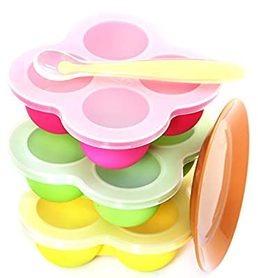 New Baby Food Storage, Health BPA Free, Set of 3 Silicone Containers, 4 Durable Cups, Dishwasher Safe, Come with Spoon & Dish, Spill Free Lid, for Food Puree Breast Milk Snacks Sauce & More by LeepLoop that we recomend individually.