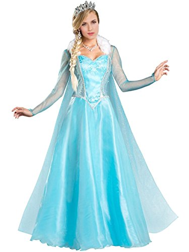 Blue Ice Elsa Snow Princess Costume Adult Dress up Costumes