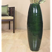 36 Inch Tall Cylinder Bamboo Floor Vase (Branches Not included) (Green)