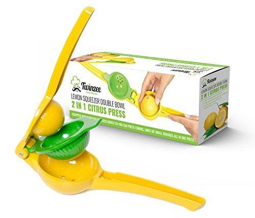 Twinzee Spremi Limone Lime Manuale - Spremi Agrumi - Design Unico 2 Ciotole In 1 Spremi Limone - Realizzato in Alluminio