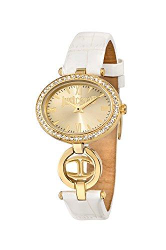 Roberto Cavalli Just Icon-Orologio da donna al quarzo, con Display analogico e cinturino in pelle bianco R7251214502