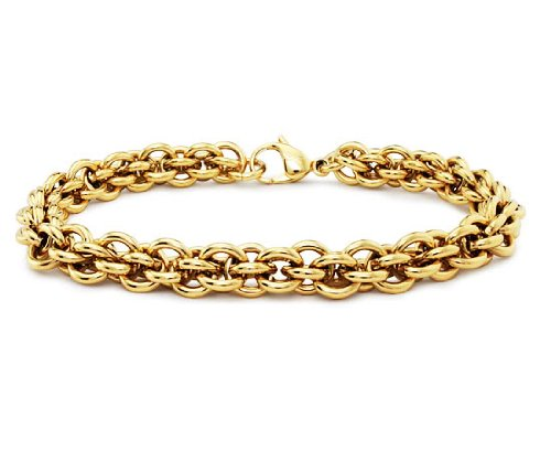Gold Plated Stainless Steel Women's Bracelet - Available Length: 7
