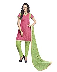 Viha Women's Chanderi Unstitched Dress Material (VF_SHLI_905A_Pink Green_Free Size)