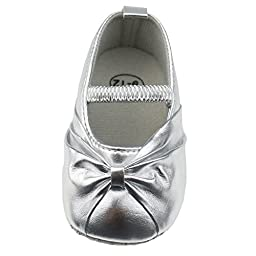 Smallt Baby Girl Soft Sole Pu Toddler Shoes (S=11=0-6 Months, Light Silver(matte)