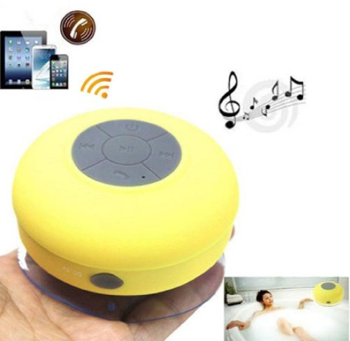 Tpcromeer Waterproof Wireless Bluetooth Shower Speaker Handsfree Speakerphone Compatible With All Bluetooth Devices Iphone 5S And All Android Devices (Yellow)