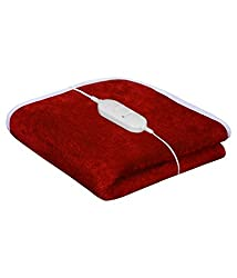 Super India Single Bed Heating Electric Blanket with Controller Coral Fleece (150x75cm)Orange -09