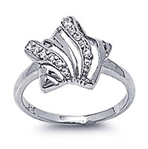 Rhodium Plated Sterling Silver Wedding & Engagement Ring Clear CZ Star Ring 14MM ( Size 5 to 9) Size 5