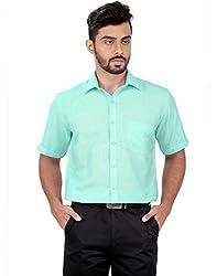 Zeal Light Green Formal Half Sleeves Linen Blend Shirt