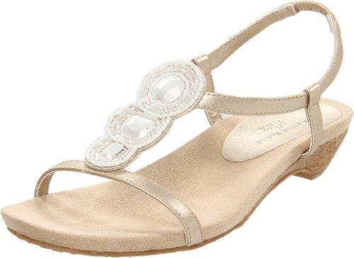 AK Anne Klein Women's Adria T-Strap Sandal,Light Gold,6.5 M US
