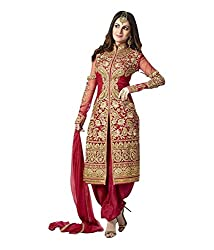 Zbuy Red Georgette Embroidered Unstitched Salwar Suit Dress Material