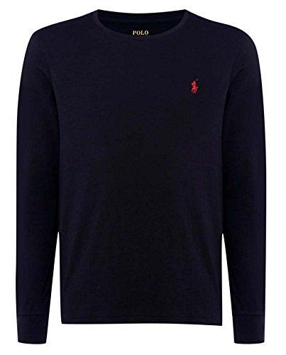Nuova Mens Ralph Lauren-Polo a maniche lunghe, girocollo, personalizzato Maglietta a maniche corte taglia S, M, L, XL, XXL, Cotone, blu navy, small