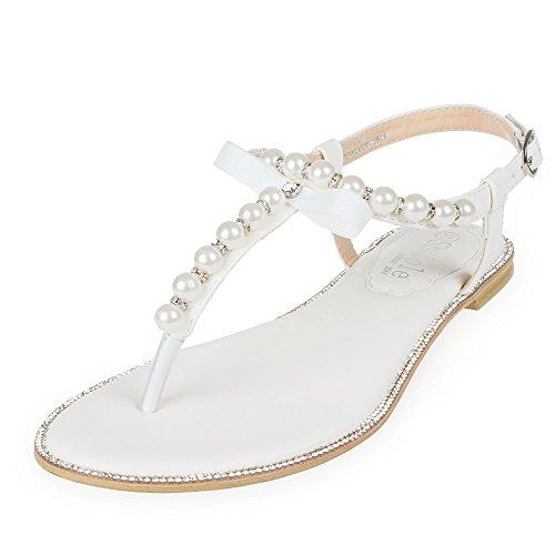 SHOEZY Womens Pu Leather Flat Sandals Wedding Pearls Rhinestone Thong Strap Gladiator Shoes US 8