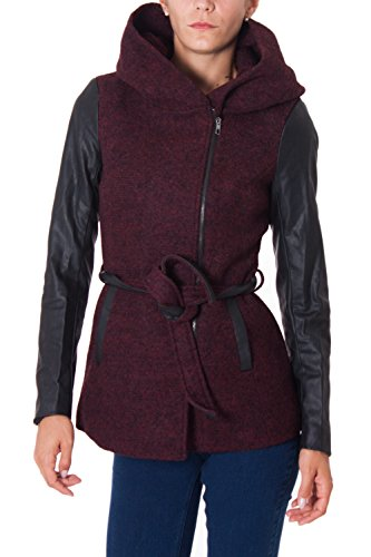 ONLY - Cappotto trench donna cappuccio lisford wool coat m bordeaux