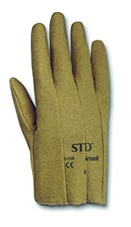 Ansell STD 1-114 Vinyl Glove, Cut Resistant, Cut and Sewn Coated on Interlock Knit Liner, X-Small, Size 6.5 (Pack of 12 Pairs)