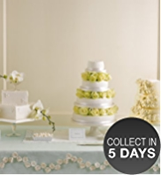 4 White Pillars & 4 Dowels - Wedding Cake Accessories